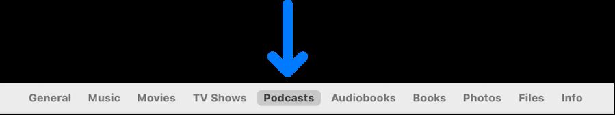 """Die Symbolleiste mit der ausgewählten Taste """"Podcasts"""""""