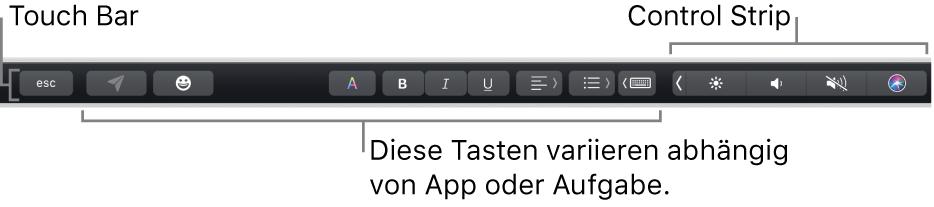 Die Touch Bar oben quer über der Tastatur mit Tasten, die je nach App oder Aufgabe links variieren, und dem reduzierten Control Strip rechts