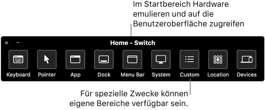 Im Startpanel der Schaltersteuerung sind Tasten (von links nach rechts) vorhanden, mit denen Tastatur, Zeiger, App, Dock, Menüleiste, Systemsteuerelemente, eigene Panels, Bildschirmposition und andere Geräte gesteuert werden.