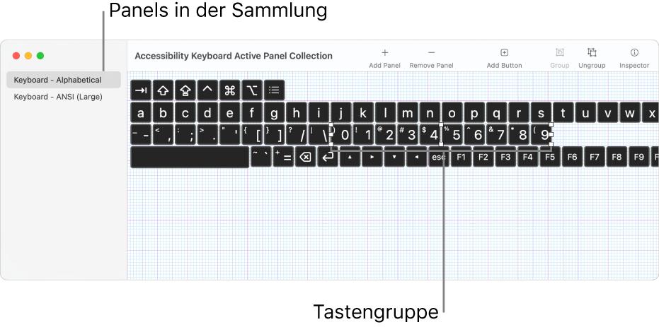 Teil eines Fensters mit einer Panelsammlung, das auf der linken Seite eine Liste mit Tastaturpanels und auf der rechten Seite Tasten und Gruppen zeigt, die in einem Panel enthalten sind.