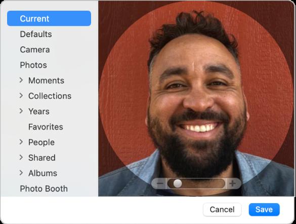 Dialogfenster für das Apple-ID-Bild, in dem du ein Foto oder Bild für deine Apple-ID hinzufügen kannst.