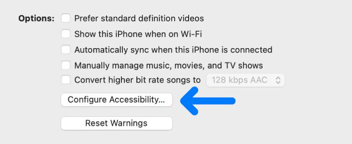 """Die Synchronisierungsoptionen werden mit der markierten Taste """"Bedienungshilfen konfigurieren"""" angezeigt."""