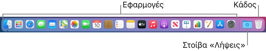 Το Dock όπου εμφανίζονται εικονίδια για εφαρμογές, η στοίβα «Λήψεις» και ο Κάδος.