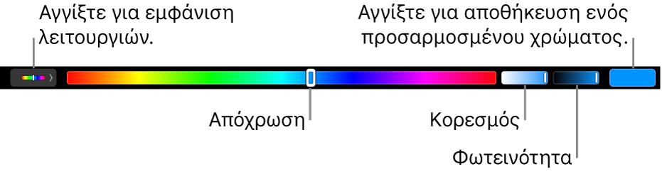 Το Touch Bar που εμφανίζει τα ρυθμιστικά απόχρωσης, κορεσμού και φωτεινότητας της λειτουργίας «HSB». Στο αριστερό άκρο βρίσκεται το κουμπί για την εμφάνιση όλων των μοντέλων. Στα δεξιά, το κουμπί για αποθήκευση προσαρμοσμένου χρώματος.