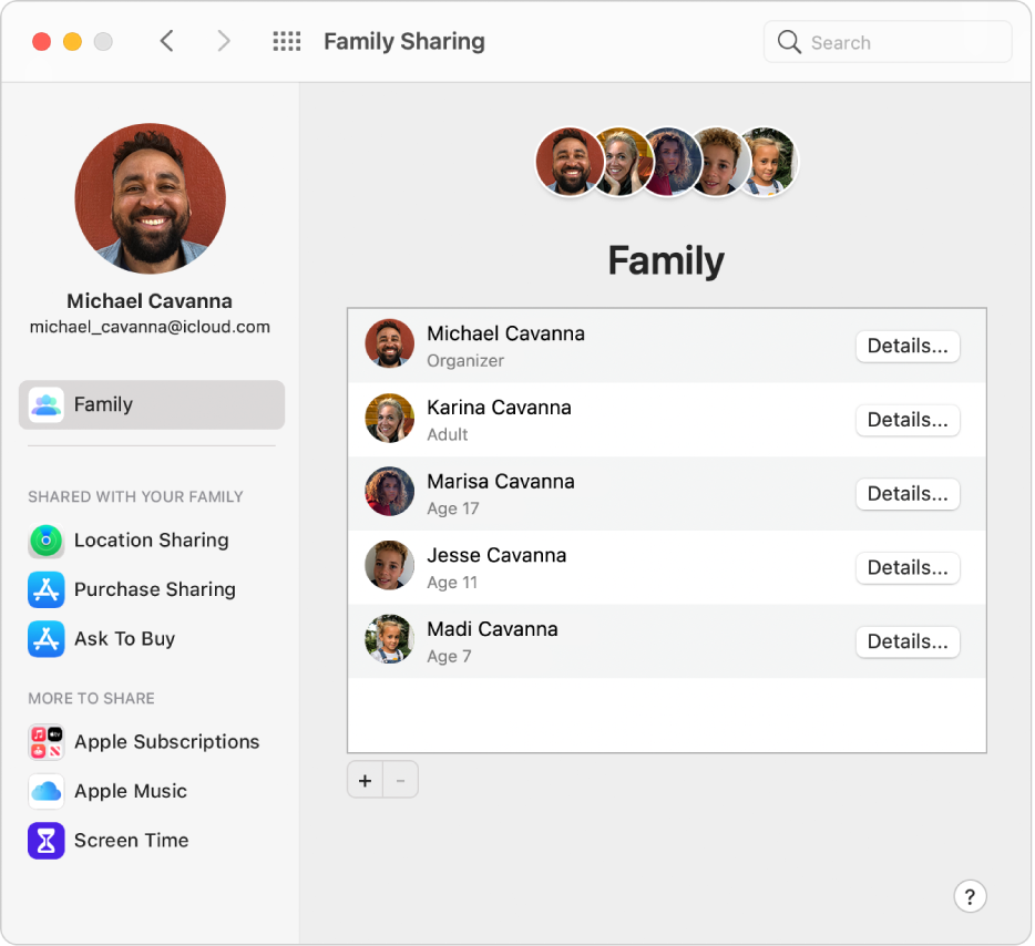 Οι προτιμήσεις Οικογενειακής κοινής χρήσης εμφανίζουν μια πλαϊνή στήλη διαφορετικών τύπων επιλογών λογαριασμού που μπορείτε να χρησιμοποιήσετε και τις προτιμήσεις Οικογένειας για υφιστάμενο λογαριασμό.