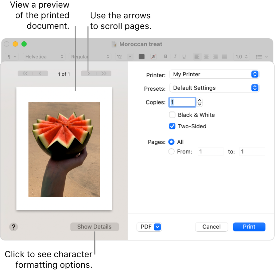 The Print dialogue shows a preview of your print job. Click the Show Details button to see all print options.