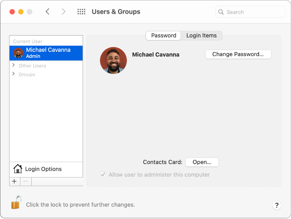 Users & Groups preferences showing a user selected in the users list. The Password tab, Login Items tab and the Change Password button are on the right.