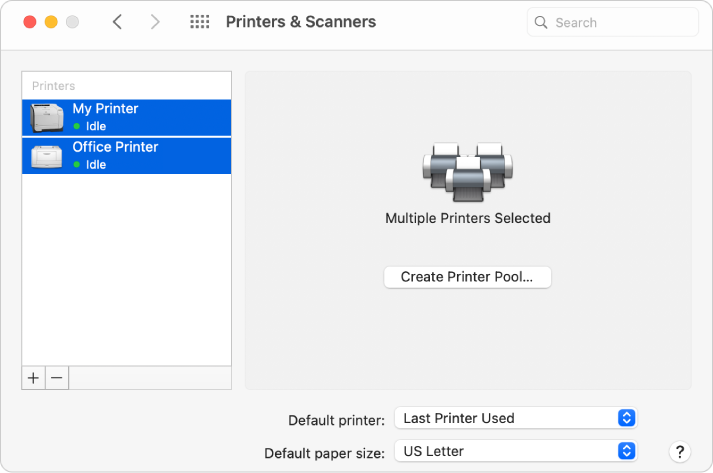The Printer & Scanners dialogue showing two printers selected in the Printers list and the Create Printer Pool button on the right.