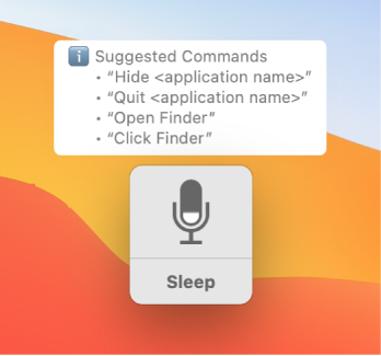 The Voice Control feedback window with suggested commands, such as Open Finder or Click Finder, displayed next to it.