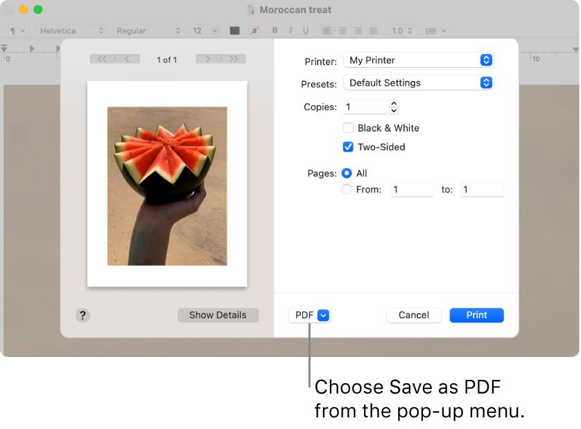 Click the PDF pop-up menu, then choose Save as PDF.