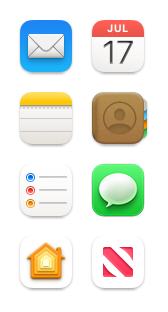 Mail, Calendar, Notes, Contacts, Reminders, Messages, Home and News icons