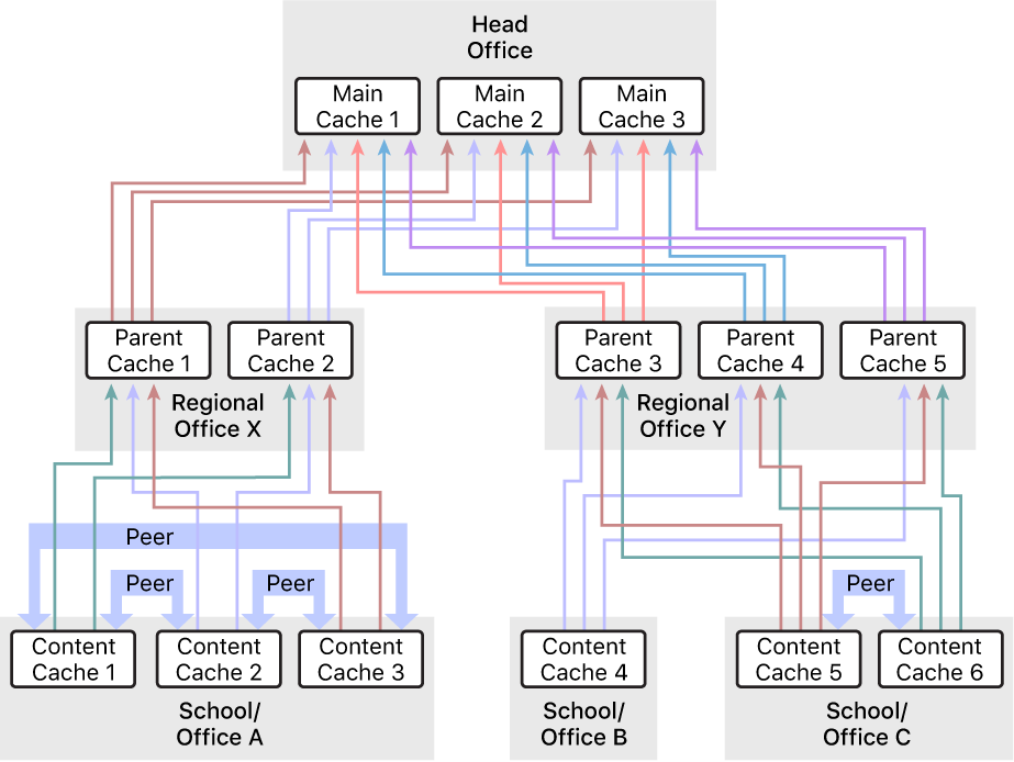 A network with numerous content caches, organised into a three-level hierarchy that has parent and grandparent content caches. Only the content caches at the lowest level of the hierarchy have peers defined.