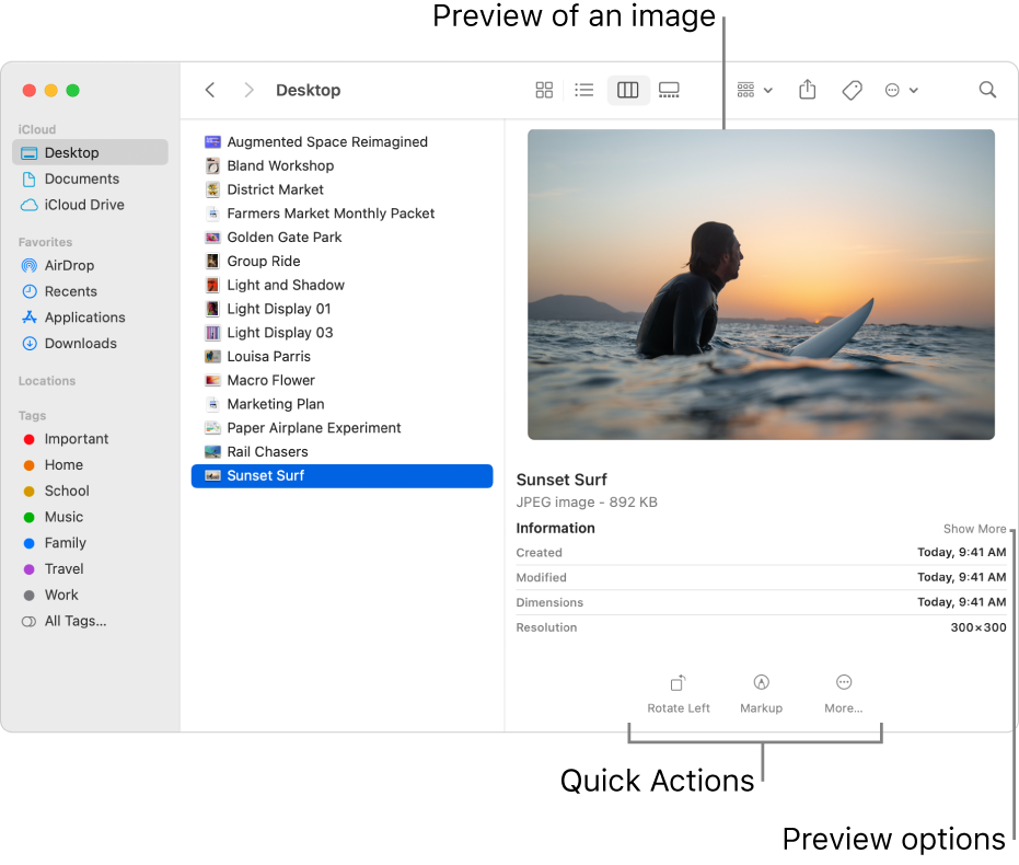 A Finder window showing the Finder sidebar on the left and an image file selected in the middle of the window. On the right, the Preview pane shows what the image looks like, with the image details below that, and the Quick Actions buttons at the bottom.
