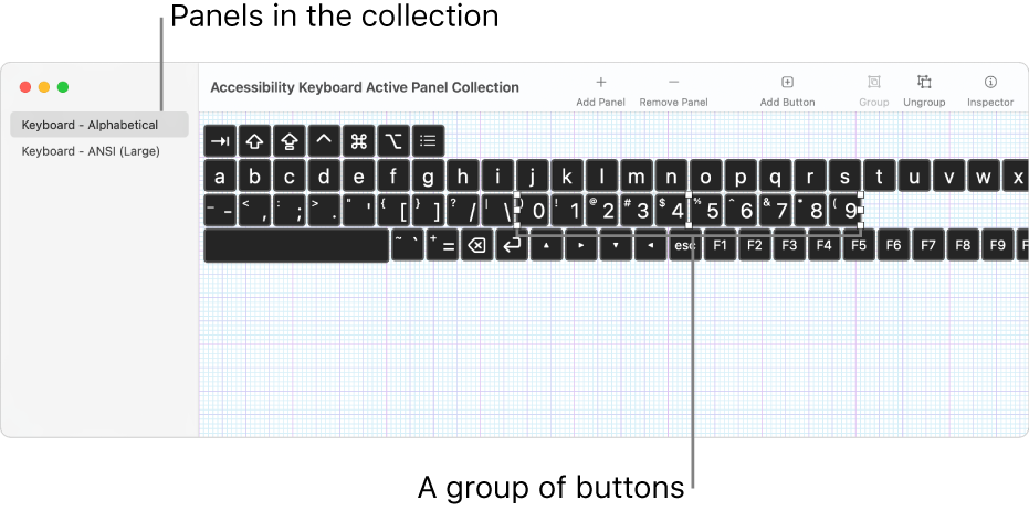 A portion of a panel collection window showing a list of keyboard panels on the left and, on the right, buttons and groups contained in a panel.