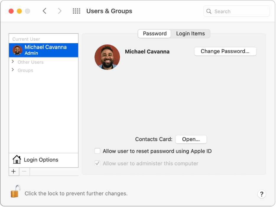 Users & Groups preferences for a selected user. At the top of the pane are the Password and Login Items tabs. Below that is the user name and the Change Password button. At the bottom is an Open button for opening the Contacts card.