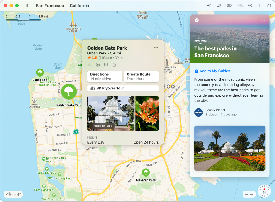 A map of the San Francisco Bay Area showing Guides to popular attractions.