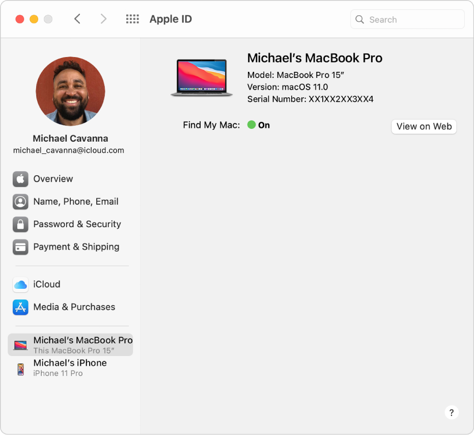 Apple ID preferences showing a sidebar of different types of account options you can use and the Trusted Device list for an existing account.