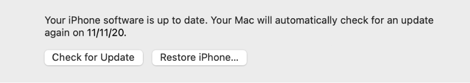 """The """"Check for Update"""" button appears next to the """"Restore device"""" button."""