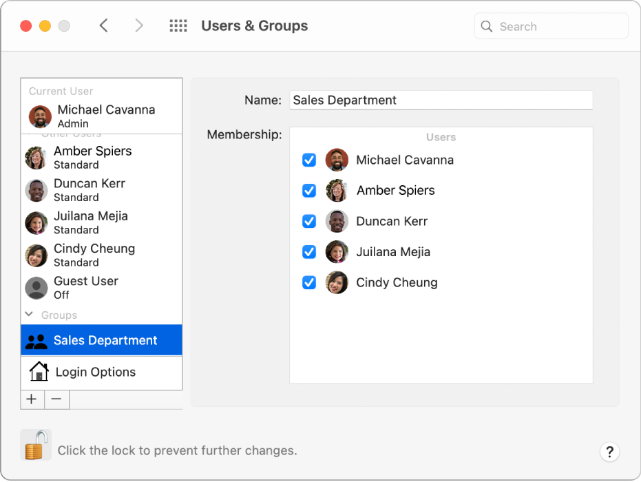 Users & Groups preferences showing a group selected on the left; the name of the  group and its members appear on the right.