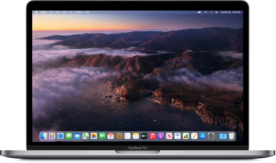 The desktop showing a dynamic macOS Big Sur desktop picture.