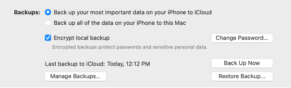 "The options for backing up data from a device appear showing two buttons to select backing up to iCloud or onto the Mac, an ""Encrypt local backup"" checkbox for encrypting backup data, and additional buttons for managing backups, restoring from a backup, and starting a backup."