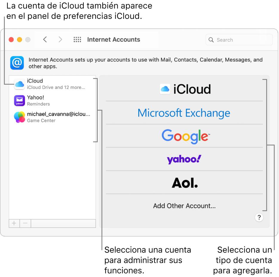 """Panel de preferencias """"Cuentas de Internet"""" con cuentas a la derecha, y tipos de cuentas disponibles en la izquierda."""