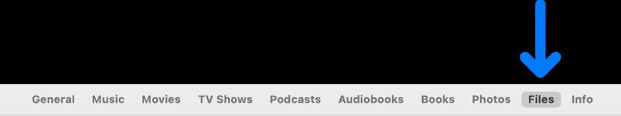La barra de botones con la opción Archivos seleccionada.