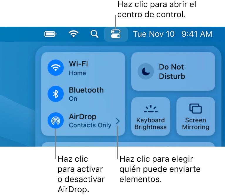 Una ventana del Centro de control que muestra los controles para activar y desactivar AirDrop y elegir quién puede enviarte elementos.