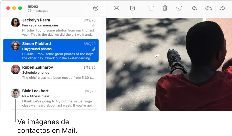 La ventana Mail mostrando la lista de mensajes con las imágenes de los remitentes junto a sus nombres.