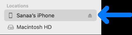 Un dispositivo seleccionado en la barra lateral del Finder.