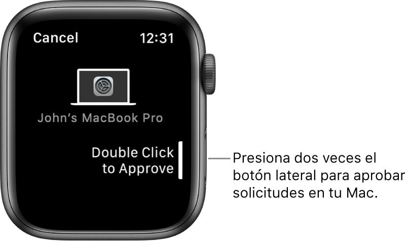 AppleWatch mostrando una solicitud de aprobación de una MacBookPro.