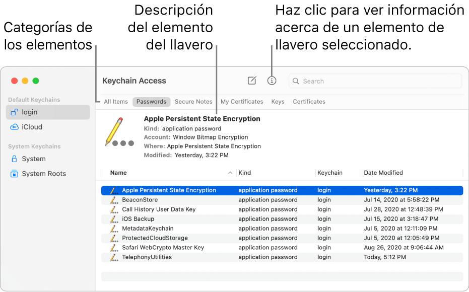 La ventana de Acceso a Llaveros mostrando los llaveros en la barra lateral. A la derecha se muestra una descripción de la contraseña del llavero seleccionada.