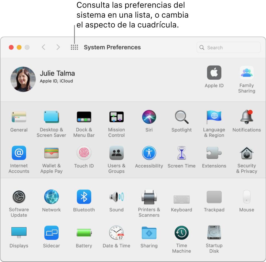"""La ventana de Preferencias del Sistema en la que se muestra la cuadrícula de iconos. Haz clic en el botón """"Mostrar todo"""" de la barra de herramientas de la ventana para ver las preferencias del sistema a modo de lista o para cambiar cómo se muestra la cuadrícula."""