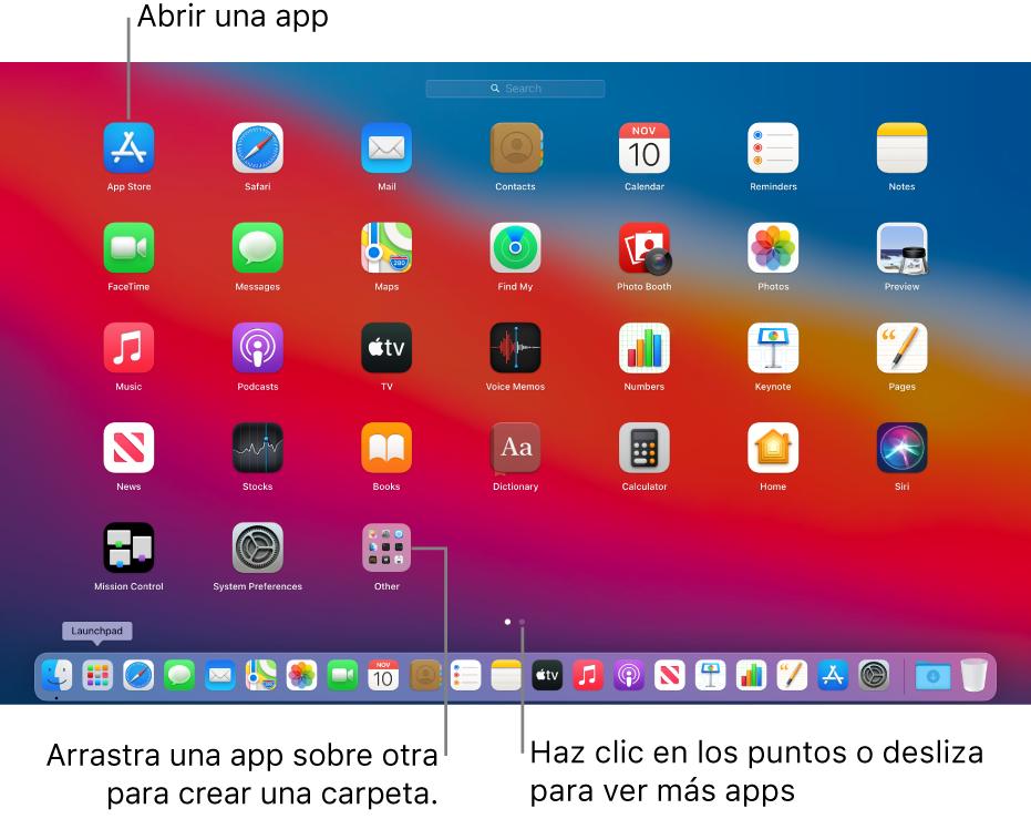 Launchpad mostrando las apps que puedes abrir.