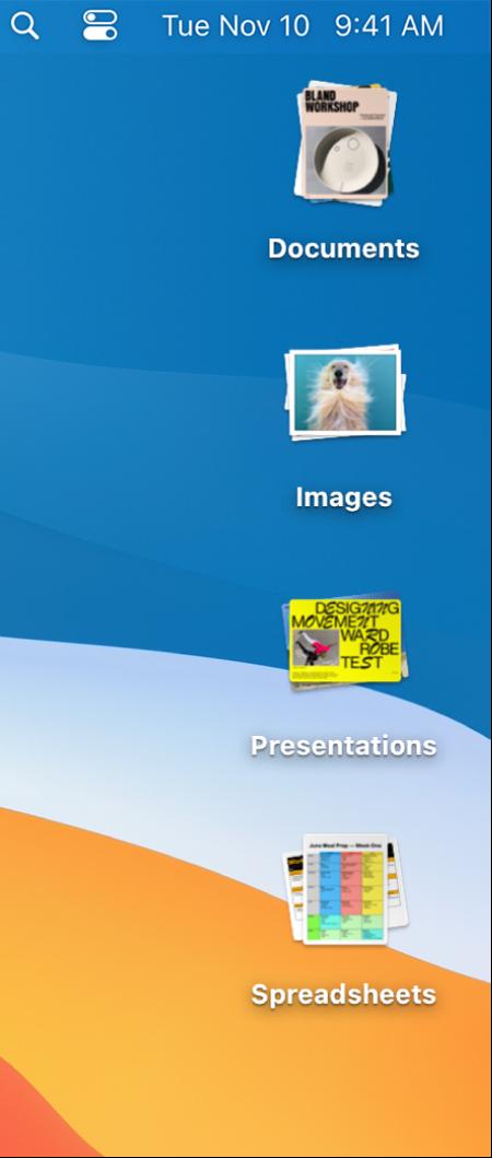Un escritorio del Mac con cuatro pilas (para documentos, imágenes, presentaciones y hojas de cálculo) a lo largo del extremo derecho de la pantalla.