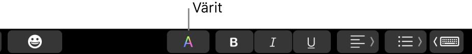 TouchBar, jossa on Värit-painike muiden appikohtaisten painikkeiden joukossa.