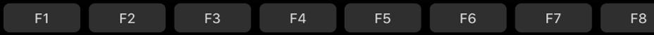Toimintonäppäimet TouchBarissa.