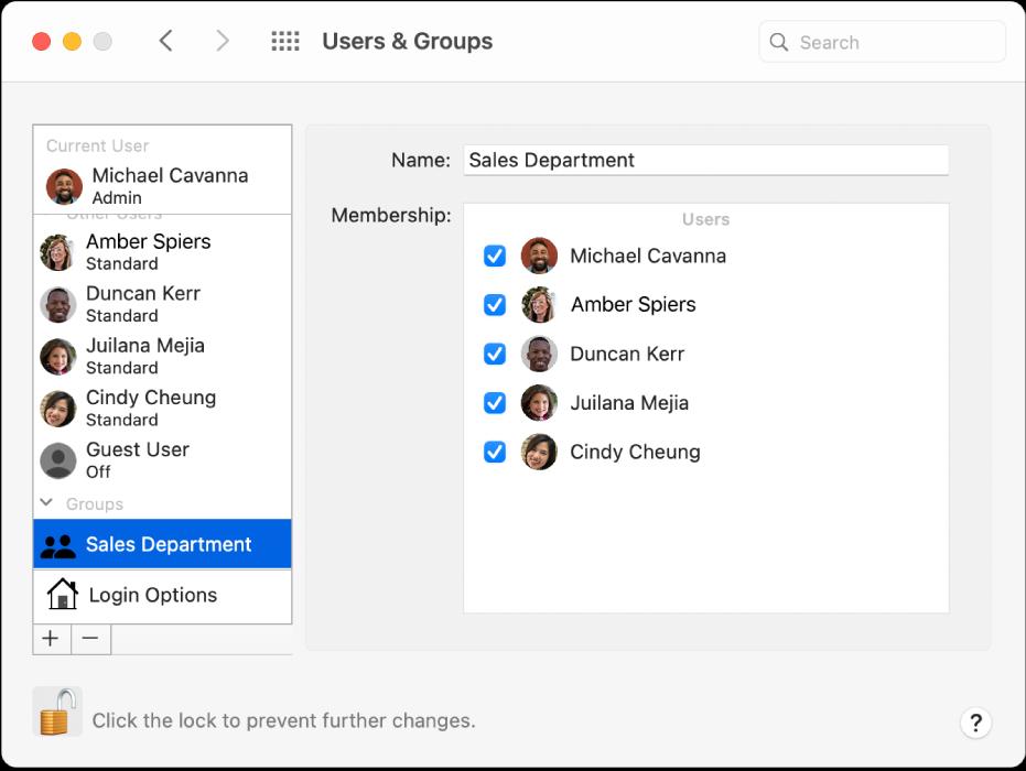 Käyttäjät ja ryhmät -asetukset, joissa ryhmä näkyy valittuna vasemmalla, ja ryhmän nimi ja sen jäsenet näkyvät oikealla.