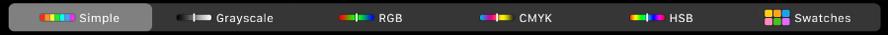 TouchBar näyttää väritiloja (vasemmalta oikealle): Yksinkertainen, Harmaasävy, RGB, CMYK ja HSB. Oikeassa reunassa on Tilkut-painike.