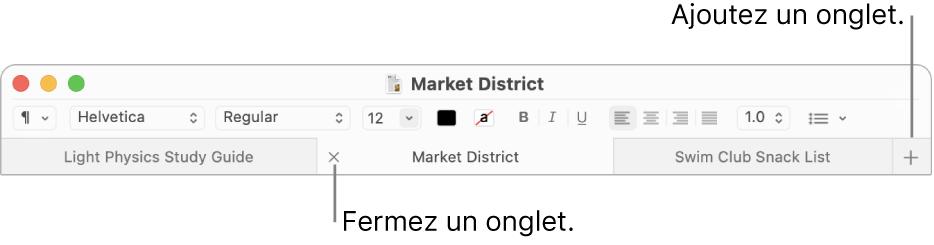 Une fenêtre TextEdit avec trois onglets dans la barre d'onglets, située sous la barre de mise en forme. Un onglet affiche le bouton de fermeture. Le bouton Ajouter se trouve à l'extrémité droite de la barre d'onglets.