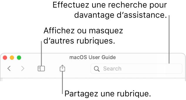 La fenêtre d'aide avec les boutons dans la barre d'outils qui permet de masquer ou d'afficher la table des matières et de partager une rubrique et le champ de recherche qui permet de rechercher des rubriques.