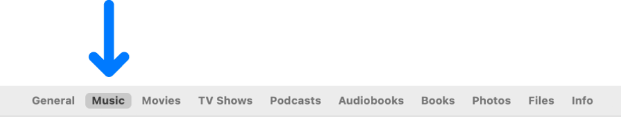 La barre des boutons affichant l'option Musique sélectionnée.