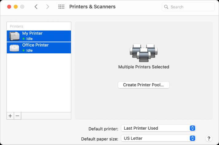 La zone de dialogue Imprimantes et scanners affichant deux imprimantes sélectionnées dans la Liste des imprimantes et le bouton Créer un groupe d'imprimantes sur la partie droite.