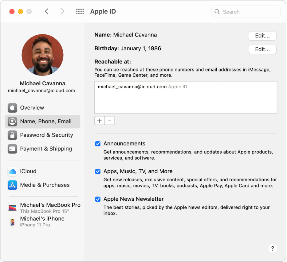 Préférences «IdentifiantApple» montrant une barre latérale de différents types d'options de compte que vous pouvez utiliser et les préférences «Nom, téléphone, adresse e-mail» pour un compte existant.
