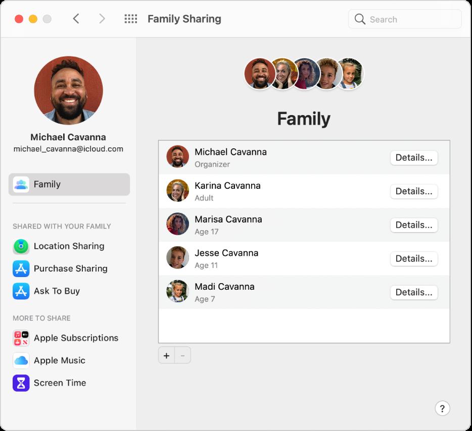 Préférences «Partage familial» montrant une barre latérale de différents types d'options de compte que vous pouvez utiliser et les préférences Famille pour un compte existant.