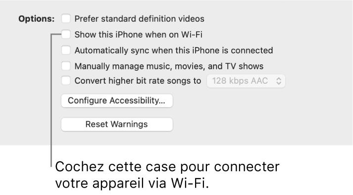 Les options de synchronisation affichant des cases pour gérer manuellement les éléments de contenu avec la case «Afficher cet [appareil] lorsqu'il est en Wi-Fi» identifiée.