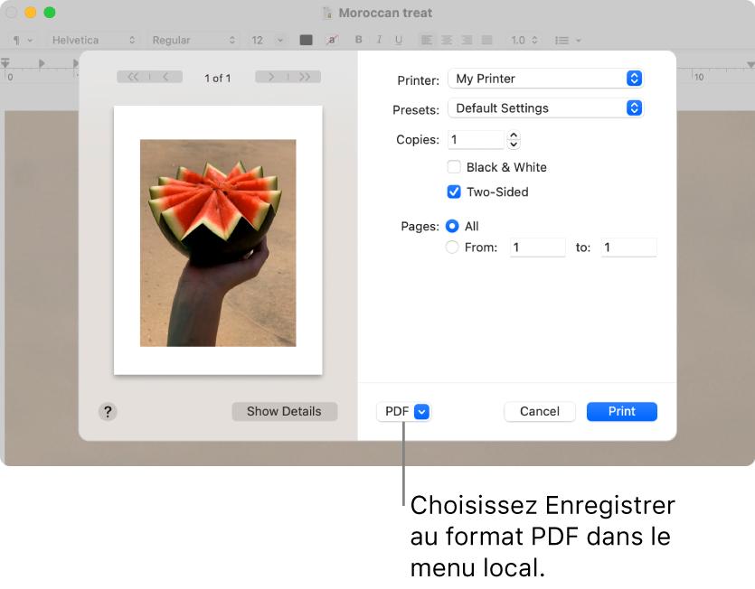 Cliquez sur le menu local PDF, puis choisissez Enregistrer au formatPDF.