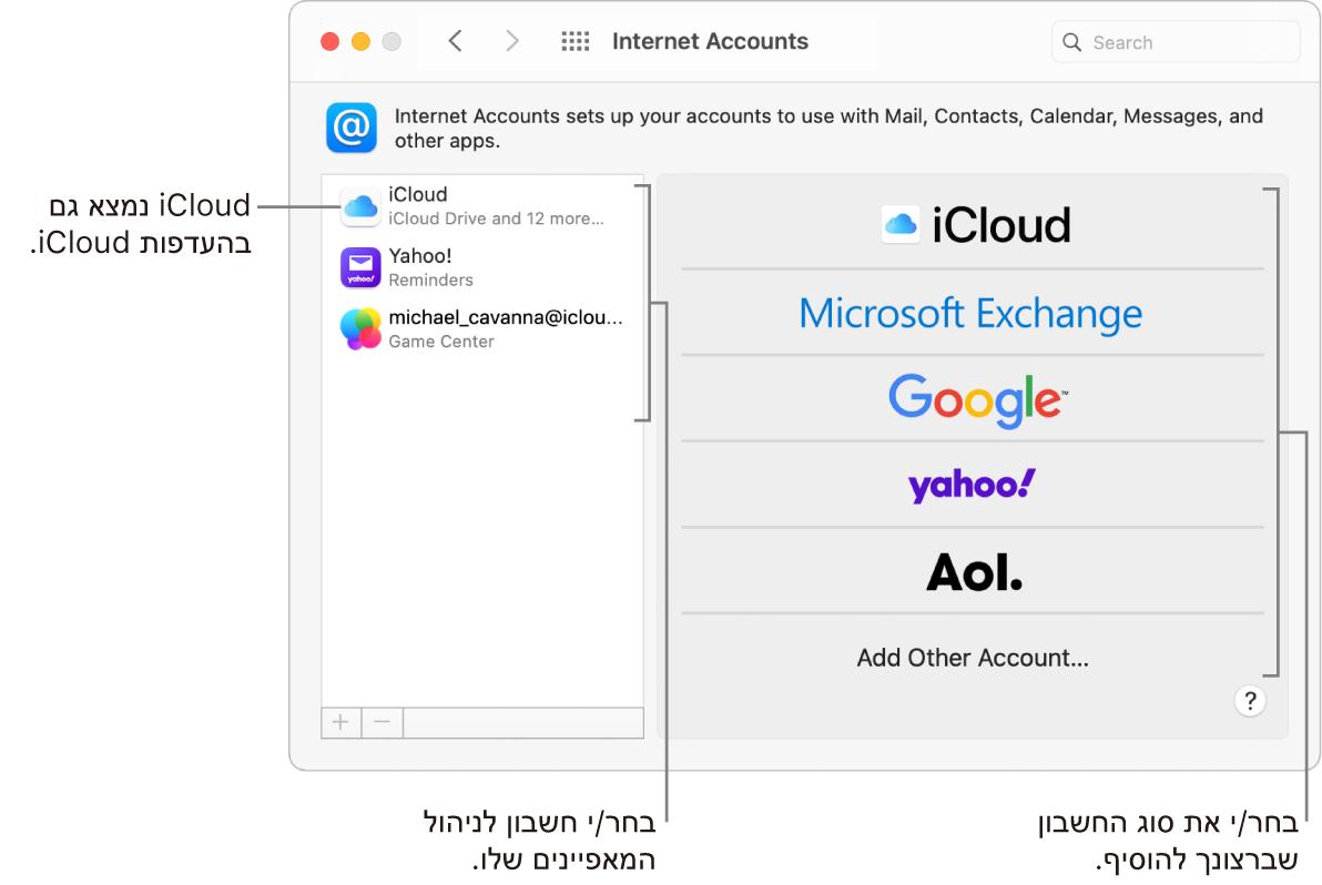 העדפות ״חשבונות אינטרנט״ כאשר חשבונות מוצגים מימין וסוגי חשבונות זמינים מפורטים משמאל.