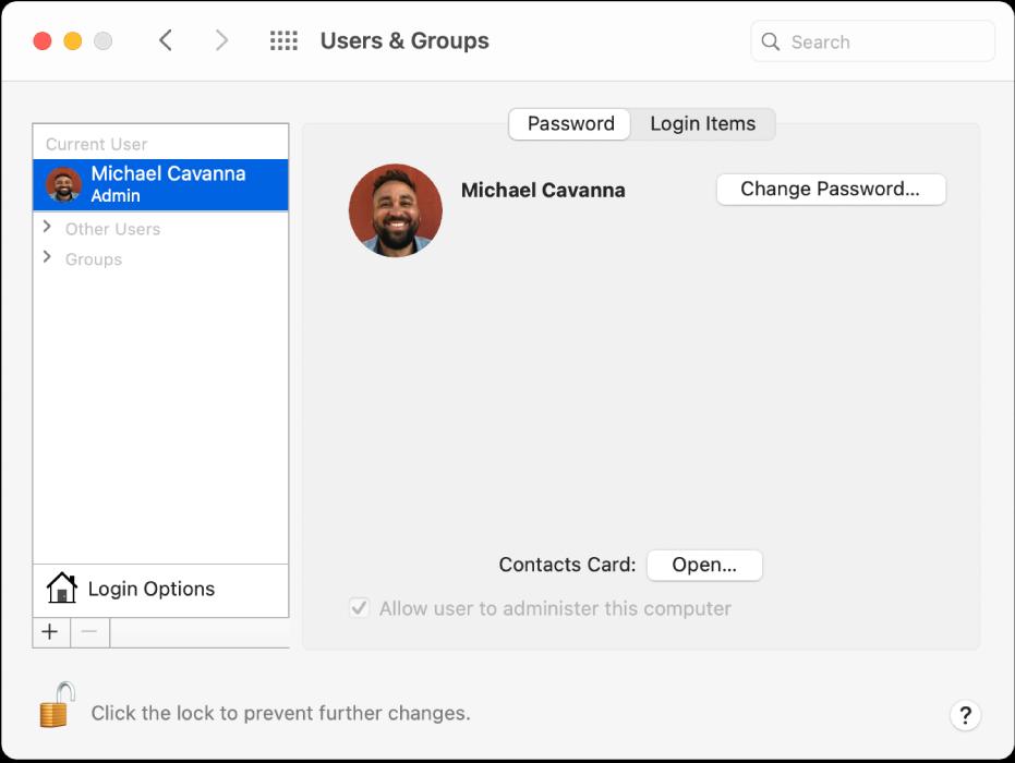 यूज़र और समूह प्राथमिकता जो यूज़र लिस्ट में चयनित यूज़र को दिखा रही है। पासवर्ड टैब, लॉग इन आइटम टैब और पासवर्ड बदलें बटन दायीं ओर हैं।