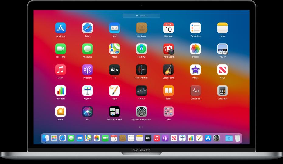 पूरी Mac स्क्रीन पर ग्रिड पैटर्न में ऐप आइकॉन दिखाता Launchpad।